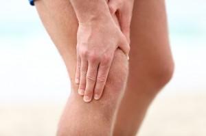 Knee Pain. Sports running knee injury in male runner.