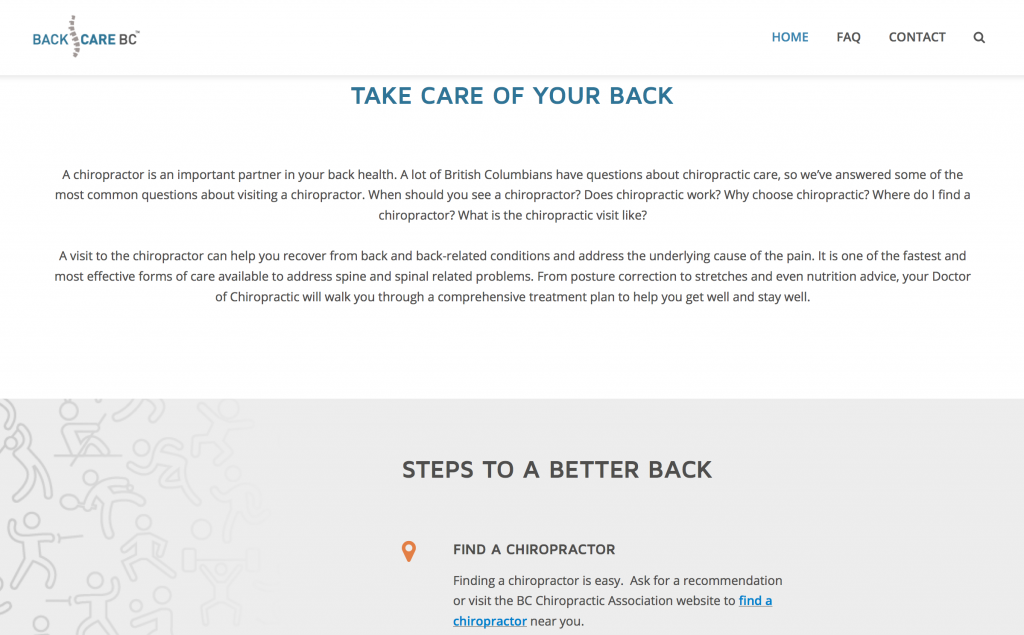 Back Care BC Website